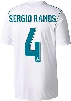 Camiseta del Real Madrid de Sergio Ramos Nro. 4, 2017, 2018, hombre, blanco, XS: Amazon.es: Deportes y aire libre