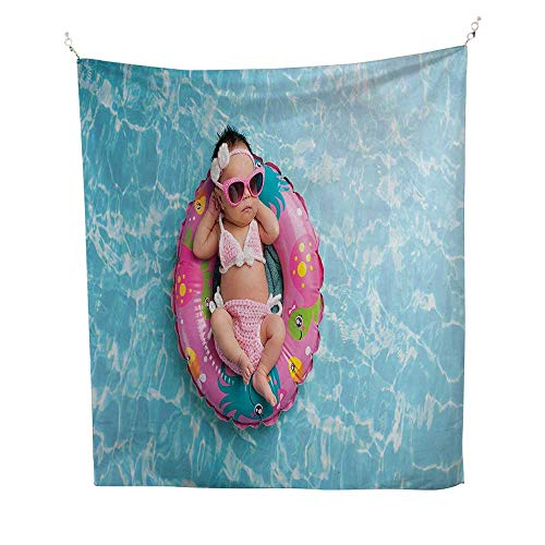 Babyocean tapestryNine Days Old Girl Sleeping on Tiny Inflatable Ring Crocheted Bikini Sunglasses 54W x 72L inch Large tapestryTan Multicolor