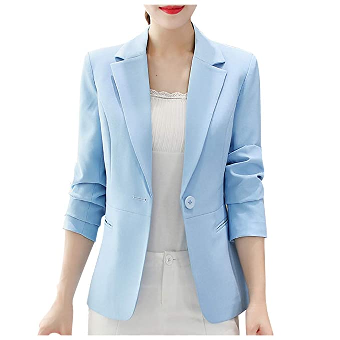 Women One Button Slim Casual Business Blazer Suit Jacket Coat Outwear Varieties