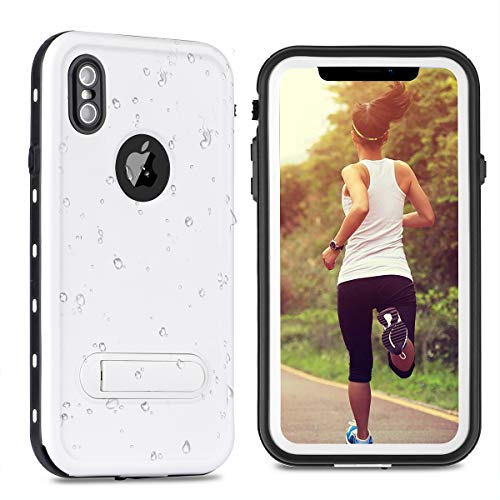 - YODSAN iPhone Xs Max Case Waterproof [Built-in Screen Protector] Shockproof Snowproof Full Body Rugged Bumper case for iPhone Xs Max(6.5 Inch) with Kickstand 2018 Release(White)