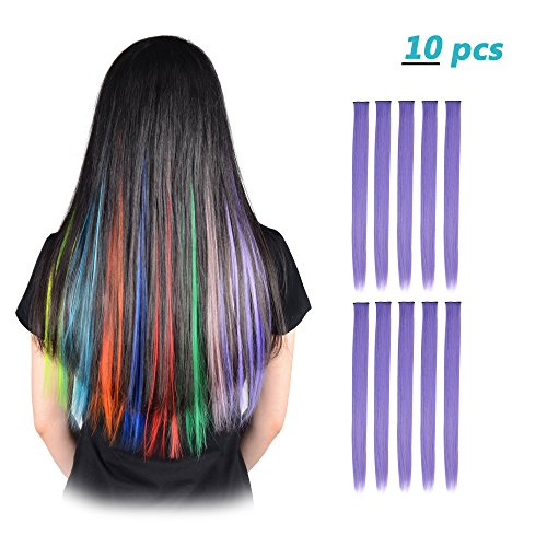 FESHFEN 10 Pcs Light Purple Straight Clip on in Hair Extensions Hairpieces 20 Inches Long Remy Hair Colored Party Highlights Hair Accessories DIY Hair Decoration Cosplay with Gift Hairpin -