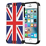 iPhone SE Case, Capsule-Case Hybrid Dual Layer Silm Defender Armor Combat Case (White  and  Black) Brush Texture Finishing for iPhone SE / iPhone 5s / iPhone 5 - (Union Jack Flag)