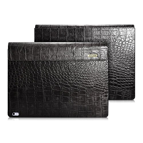 icarercase Surface Book Case,Surface Book 2 Leather Case, Crocodile Series Genuine Leather Detachable Folio Cover for Microsoft Surface Book 13.5 -