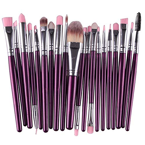 20PCS Make Up Brush Sets, Foundation Eyebrow Eyeliner Blush Cosmetic Concealer Brushes (Purple)