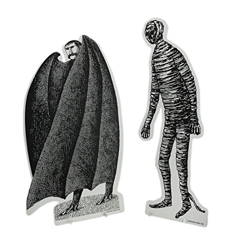 Vampire Cardboard Stand - Zeckos Set of 2 Black & White Edward Gorey Vampire and Mummy Cardboard Cutouts