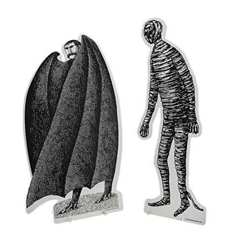 Zeckos Set of 2 Black & White Edward Gorey Vampire and Mummy Cardboard Cutouts