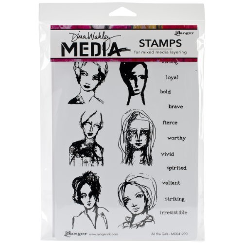 Dina Wakley Media Rubber All the Gals Cling Stamps, Multi-Colour by Ranger by Ranger