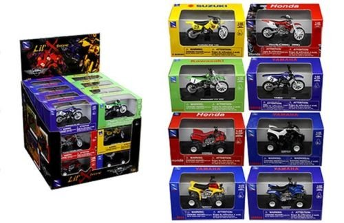 NEW 1:32 NEW RAY MOTORCYCLES COLLECTION - LIL' XTREME MOTORCYCLE & ATV ASSORTMENT 24 PIECE w/ Display Box Model Car By NEW RAY TOYS Set of 24 Motocycles from New Ray