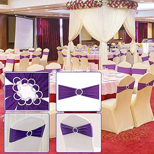 2013Newestseller 50PCS Spandex Chair Sashes Bows Elastic Chair Bands With Buckle Slider Sashes Bows For Wedding Party Ceremony Reception Banquet Decorations (Purple)