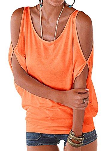 ISSHE Rundhals T Shirt Schulterfrei Damen Sommer Lockere T Shirts Kurzarm  Frauen Oversize Shirt Tops Schöne 72115fe4f8
