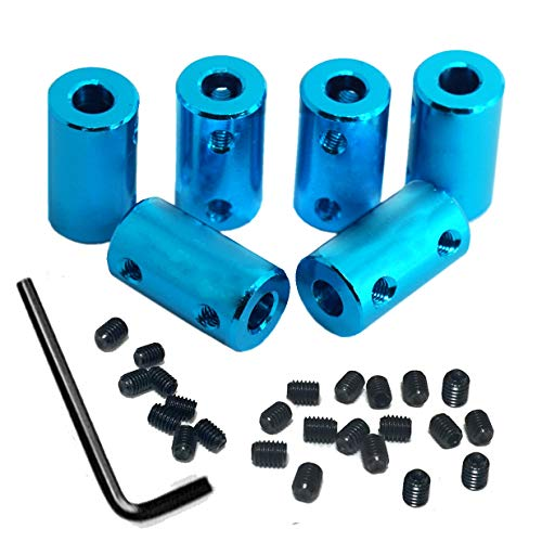 6Pack ZYCST Aluminium Alloy Shaft Coupling Rigid Stepper Motor Wheel Coupler Joint Connector for DIY Car Boat Airplane 3D Printers, 5mm to -