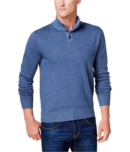 Tommy Hilfiger Mens Textured Knit Henley Sweater, Blue, Small - Mens Textured Knit Henley