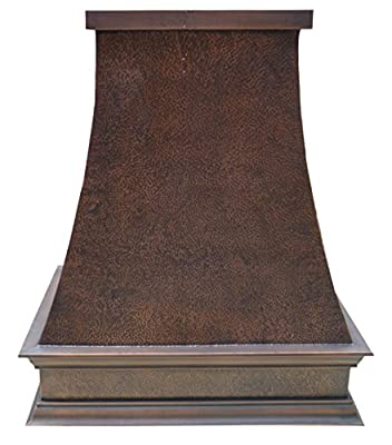 "Sinda Copper Kitchen Range Hood with High Airflow Centrifugal Blower, Includes SUS 304 Liner and Baffle Filter, High CFM Vent Motor, Wall/Island/Ceiling Mount, Width 30/36/42/48 in (W36""xH30""Island)"