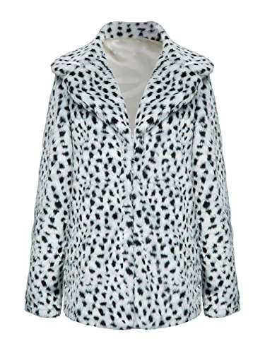 CHOiES record your inspired fashion Choies Women's White Leopard Lapel Faux Fur Jacket Winter Polka Dot Fur Coat M