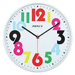 Maple's 12-Inch Wall Clock, White Face with Colored Numerals