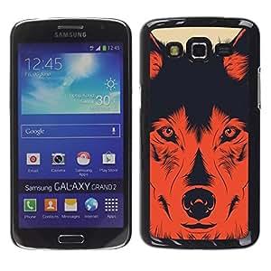 LECELL--Funda protectora / Cubierta / Piel For Samsung Galaxy Grand 2 SM-G7102 SM-G7105 -- Dog Evil Devil Hund Shepard Red Poster --