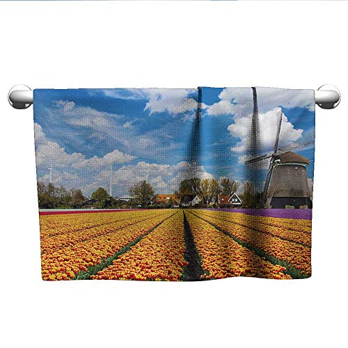 Bensonsve Square Towel Windmill,Tulips of Holland Countryside Landscape in Springtime with Rustic Houses Print,Multicolor,Hanging Towel Rack for Bathroom