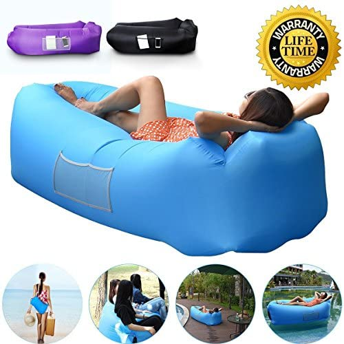 AngLink Outdoor Inflatable Lounger Couch, Thick Durable Comfortable, Air Sofa Blow Up Lounge Sofa Carrying Bag Travelling, Camping, Hiking, Park, Pool ...