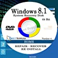 WINDOWS 8.1 - 64 Bit DVD SP1, Supports HOME. Recover, Repair, Restore or Re-install Windows to Factory Fresh!
