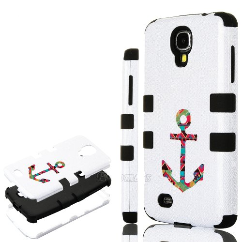 """myLife Black - Tribal Anchor Design (3 Piece Hybrid) Hard and Soft Case for the Samsung Galaxy S4 """"Fits Models: I9500, I9505, SPH-L720, Galaxy S IV, SGH-I337, SCH-I545, SGH-M919, SCH-R970 and Galaxy S4 LTE-A Touch Phone"""" (Fitted Front and Back Solid Cover Case + Internal Silicone Gel Rubberized Tough Armor Skin)"""