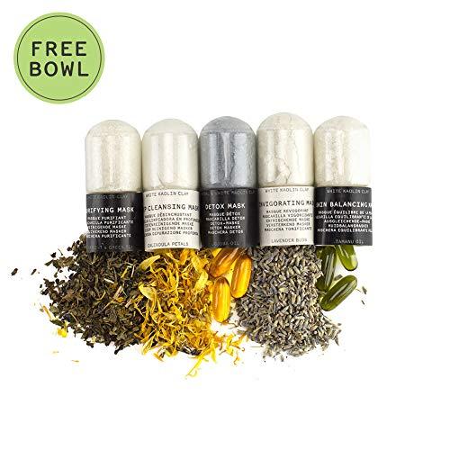 Oleum Vera - Detox Masks + 1 FREE mixing jar - DIY Make your own Skincare at Home - Organic Ingredients (Easy Face Mask Recipes To Make At Home)