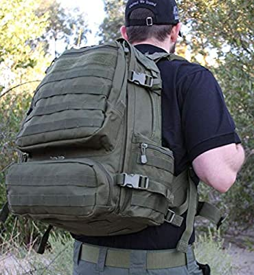 Tactical Backpack for Operators, Police, SWAT, Military, and Security Personnel. Large Capacity, MOLLE Straps, Hydration Pouch Pocket. Great for The Range or Camping and Hiking