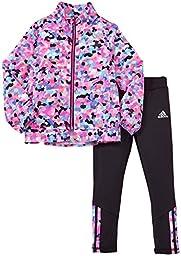 adidas Toddler Girls\' Wind Jacket and Pant Set, Mosaic Print, 4T