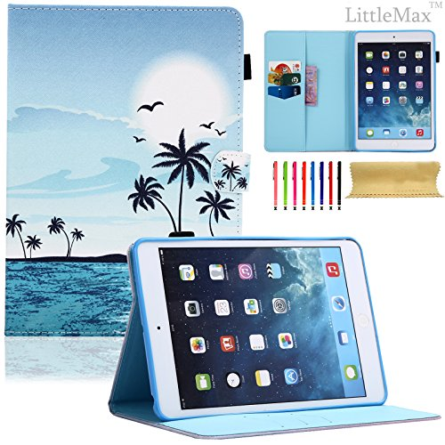 LittleMax(TM) iPad Mini 2 Case Mini 3 PU Leather Case Smart Auto Wake/Sleep Stand Case [Card Holder] Flip Wallet Case Cover for iPad Mini 3/2/1 [Free Cleaning Cloth,Stylus]-#Hawaiian Scenery