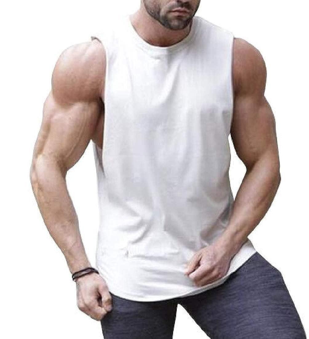 X-Future Men Tee Fitness Contrast Round Neck Sleeveless Vest Tank Top