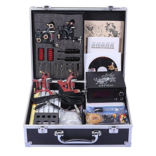 Shark® Professional Tattoo Kit 4 Machines Gun Carry Case With Key Power Supply Needles Grips Tips (Shark Tattoo)