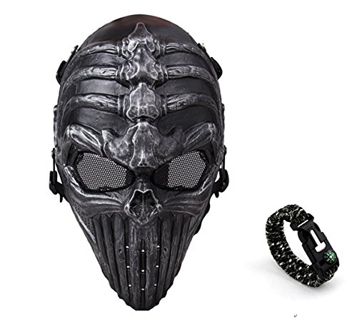 Tech-p Imitation Spine Airsoft Cs Wargame Field Skull Skeleton Full Face Mask Protect Army Cosplay Mask Tactical Mask Gear-silver Black