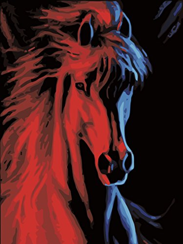 LoveTheFamily 数字油絵 数字キット塗り絵 手塗り DIY絵 デジタル油絵 赤い馬 30x40cm ホーム オフィス装飾