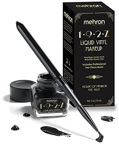 Mehron 1927 Liquid Vinyl Makeup – Long Wearing & Water Resistant Liquid with Professional Two-Piece Brush – Ultra Pigmented High Gloss Eyeliner (.5oz) (Jet -