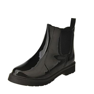 51d3dc50a9f5 ZYUEER Bottes Pluie Fille Ankle Boots Grande Taille Pas Cher Plates  Bottines Vernis Noir Talon Bas