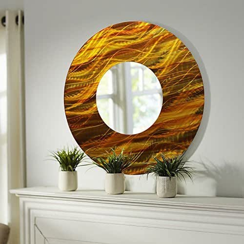 Amazon.com: Gold and Amber Abstract Metal Wall Mirror ...