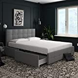 storage bed frame DHP Rose Upholstered Bed with Storage, Gray Linen, Queen