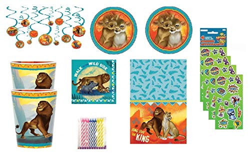 party bundle The Lion King Party Supply Set for 16 includes Lunch Plates, Napkins, Cups, Table Cover, Swirl Hanging Decorations, 24ct Candles, Stickers -