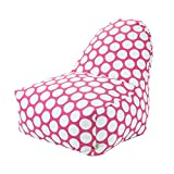 Majestic Home Goods Large Polka Dot Kick-It Chair, Hot Pink