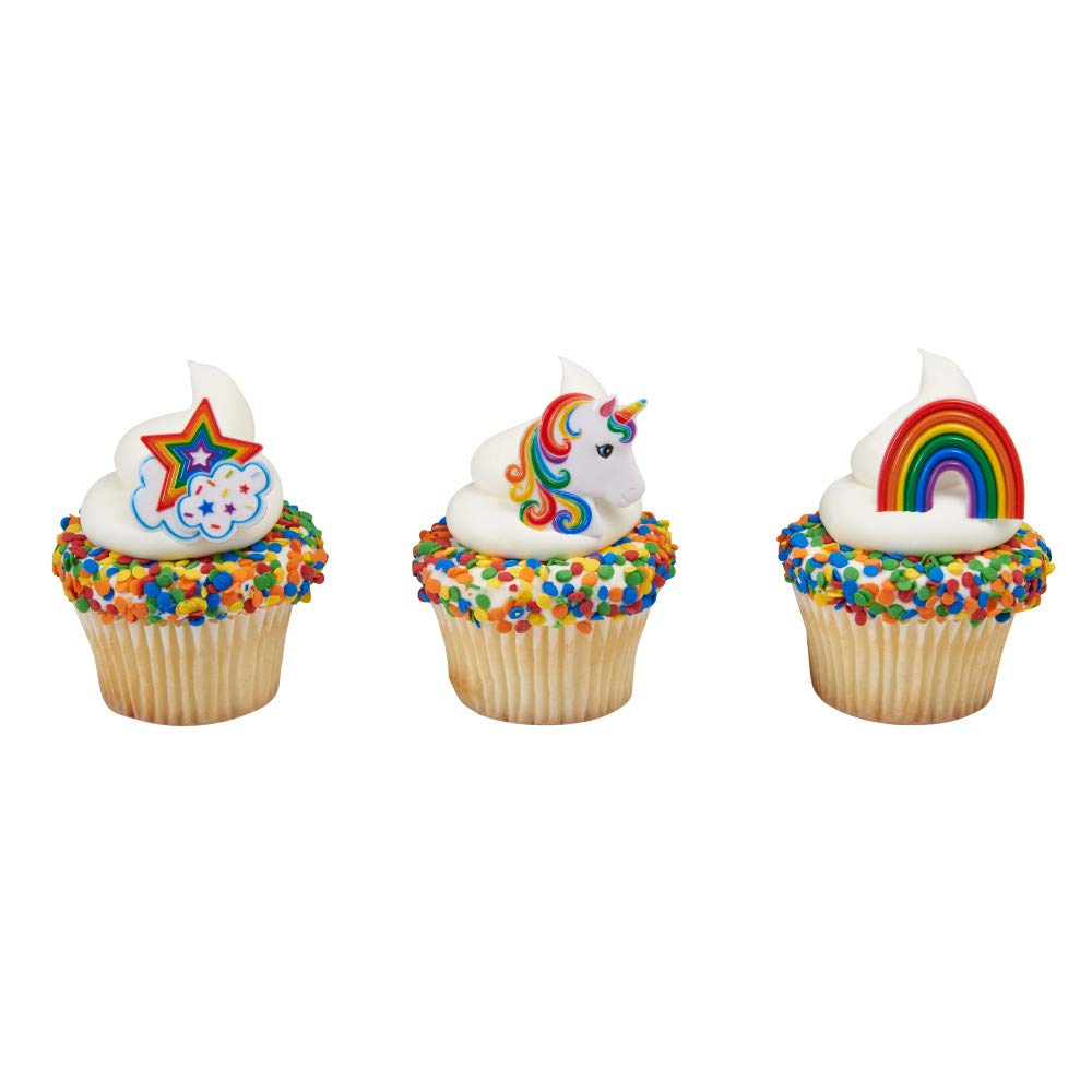 Baking Addict Cupcake Topper Decorations Cake Pop Dessert Decorating Rings Rainbow Unicorn Asst, Wholesale Case of 864 (6 Packs of 144) by Baking Addict