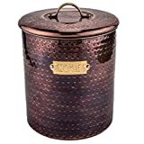 Hammered Antique Copper 4-quart Cookie Jar, Metal, Stainless Steel