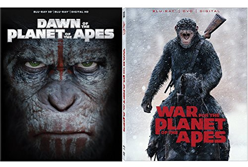 Apes Saga Dawn of Planet of The Apes in 3D + War For The Planet Of The Apes Blu Ray + DVD Science Fiction 2 pack (War For The Planet Of The Apes 3d)
