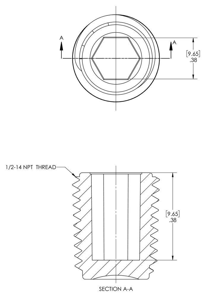 Pack of 500 to Plug Thread Size 1//2-14 Black Caplugs QTH71KA1 Plastic Hex Socket Threaded Plug TH-7 to Plug Thread Size 1//2-14 Caplugs Inc. HDPE