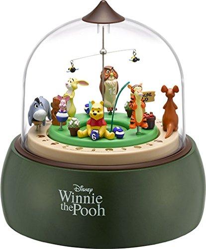 탁상시계 아날로그 꼭두각시 디오라마 곰의 《푸》씨 테마곡 오르골 멜로디 목녹색 리듬 시계 4RH787MC05 Disney