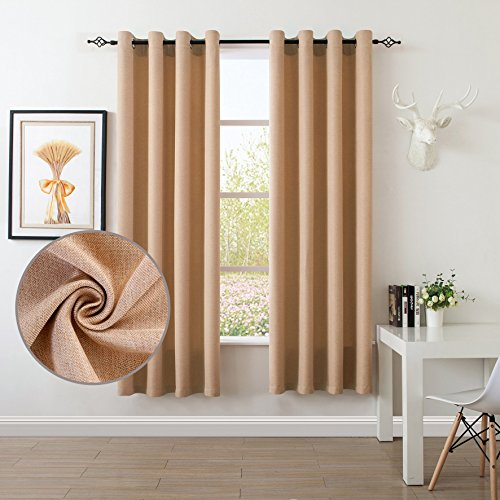 S DOLLCT Linen and Velvet Living Room Curtains Grommet Thermal Insulated Drapes,52 by 84 - Inch (Set of 2) - Beige Curtains