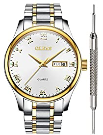 Wrist Watch for Men - OLEVS Couple Watches Calendar 2019 Waterproof White Stainless Steel Analog Watches for Men Roman Numeral Clearance Day Date Quartz Watch Gift Watch for Business Birthday Party