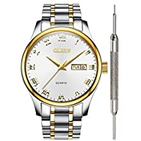 Wrist Watch for Men Waterproof Stainless Steel Analog Quartz Watch Roman Numeral Calendar Date Window Wristwatch with White Business Casual Luminescence Display Additional Battery Gift OLEVS