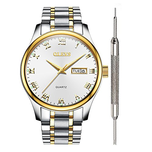 (Wrist Watch for Men - OLEVS Couple Watches Calendar 2019 Waterproof White Stainless Steel Analog Watches for Men Roman Numeral Clearance Day Date Quartz Watch Gift Watch for Business Birthday Party)