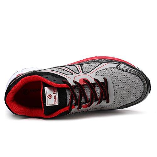 Paire De Rêve Mens Athlétique Chaussures De Course Sneakers Gris Noir Rouge