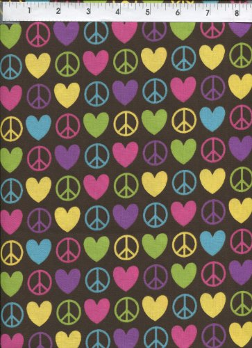 David Textiles Groovy Peace Signs Love Hearts Brown Fabric for $<!--$7.95-->