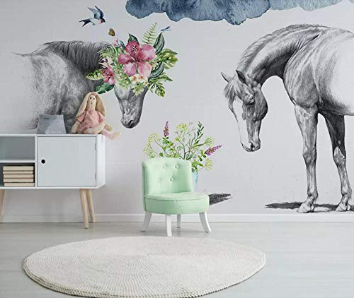 Wall Mural 3D Wallpaper Creative Floral Black and White Couple Horse Wall Decoration Art